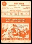 1963 Topps #25  Milt Plum  Back Thumbnail