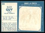 1961 Topps #25  Buzz Guy  Back Thumbnail