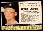 1961 Post #14  Ryne Duren   Front Thumbnail