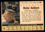 1961 Post #192 BOX Richie Ashburn   Front Thumbnail