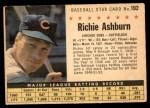 1961 Post Cereal #192 BOX Richie Ashburn   Front Thumbnail