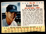 1963 Post #20  Ralph Terry  Front Thumbnail