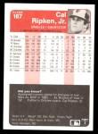 1985 Fleer #187  Cal Ripken Jr.  Back Thumbnail
