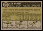 1961 Topps #416  Dick Howser  Back Thumbnail