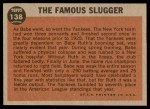 1962 Topps #138 GRN  -  Babe Ruth The Famous Slugger Back Thumbnail