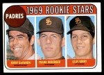 1969 Topps #637   -  Jerry DaVanon / Clay Kirby / Frank Reberger Padres Rookies Front Thumbnail