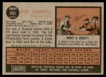 1962 Topps #495  Don Cardwell  Back Thumbnail
