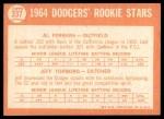 1964 Topps #337   -  Al Ferrara / Jeff Torborg Dodgers Rookies Back Thumbnail