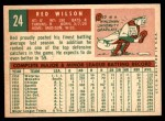 1959 Topps #24  Red Wilson  Back Thumbnail