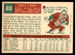 1959 Topps #414  Dale Long  Back Thumbnail