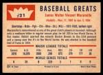 1960 Fleer #21  Rabbit Maranville  Back Thumbnail