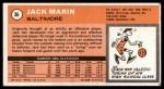 1970 Topps #36  Jack Marin   Back Thumbnail