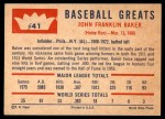 1960 Fleer #41  Home Run Baker  Back Thumbnail