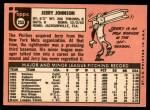 1969 Topps #253  Jerry Johnson  Back Thumbnail