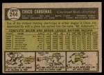 1961 Topps #244  Leo 'Chico' Cardenas  Back Thumbnail