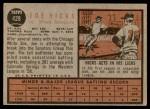 1962 Topps #428  Joe Hicks  Back Thumbnail