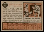 1962 Topps #449  Jerry Adair  Back Thumbnail
