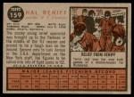 1962 Topps #159  Hal Reniff  Back Thumbnail
