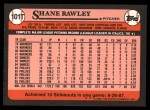 1989 Topps Traded #101 T Shane Rawley  Back Thumbnail