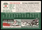 2003 Topps Heritage #20 BLK Todd Helton   Back Thumbnail