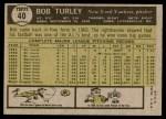 1961 Topps #40  Bob Turley  Back Thumbnail