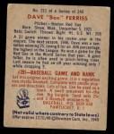 1949 Bowman #211  Dave Ferris  Back Thumbnail