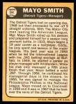1968 Topps #544  Mayo Smith  Back Thumbnail