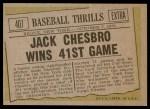 1961 Topps #407   -  Jack Chesbro Baseball Thrills Back Thumbnail