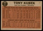 1962 Topps #311   -  Tony Kubek  Makes the Double Play Back Thumbnail