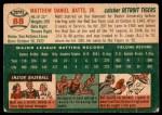1954 Topps #88  Matt Batts  Back Thumbnail