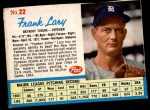1962 Post Cereal #22  Frank Lary   Front Thumbnail