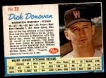 1962 Post #73  Dick Donovan   Front Thumbnail