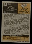 1971 Topps #62  Altie Taylor  Back Thumbnail