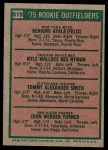 1975 Topps #619   -  Benny Ayala / Jerry Turner / Nyls Nyman / Tommy Smith Rookie Outfielders   Back Thumbnail