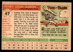 1955 Topps #47  Hank Aaron  Back Thumbnail