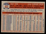 1957 Topps #40  Early Wynn  Back Thumbnail