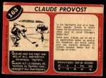 1968 O-Pee-Chee #163  Claude Provost  Back Thumbnail