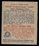 1949 Bowman #92  Willie Jones  Back Thumbnail