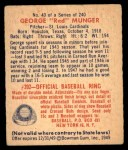 1949 Bowman #40  Red Munger  Back Thumbnail