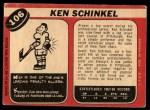 1968 O-Pee-Chee #106  Ken Schinkel  Back Thumbnail