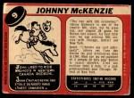 1968 O-Pee-Chee #9  John McKenzie  Back Thumbnail