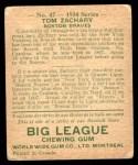 1934 World Wide Gum #47  Tom Zachary  Back Thumbnail