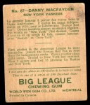 1933 World Wide Gum #87  Danny MacFayden    Back Thumbnail