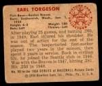 1950 Bowman #163  Earl Torgeson  Back Thumbnail