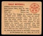 1950 Bowman #130  Dale Mitchell  Back Thumbnail