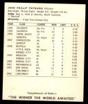 1964 Kahn's  John Tsitouris  Back Thumbnail