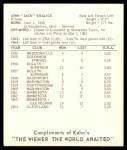 1965 Kahn's  Jack Kralick  Back Thumbnail
