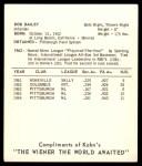1965 Kahn's  Bob Bailey  Back Thumbnail