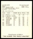 1965 Kahn's  Jim Pagliaroni  Back Thumbnail