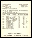 1965 Kahn's  Donn Clendenon  Back Thumbnail